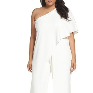 Adrianna Papell one Shoulder Ivory Jumpsuit